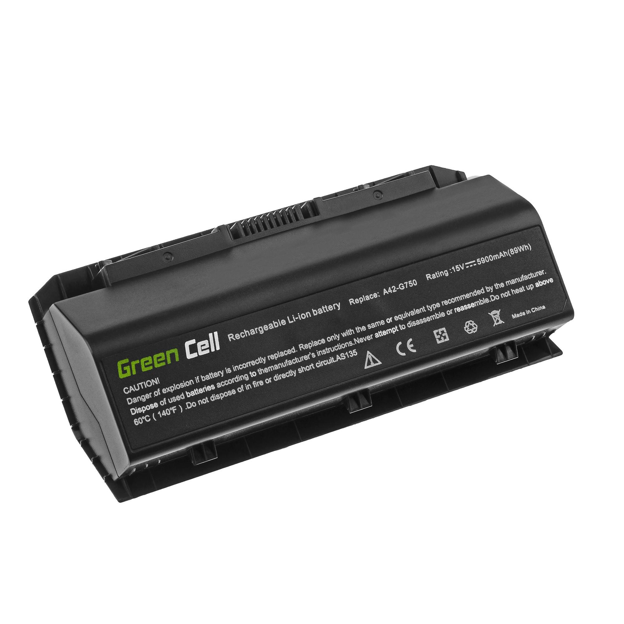 Green Cell A42-G750 Battery for Asus G750 G750J G750JH G750JM G750JS G750JW G750JX G750JZ / 15V 5900mAh akumulators, baterija portatīvajiem datoriem