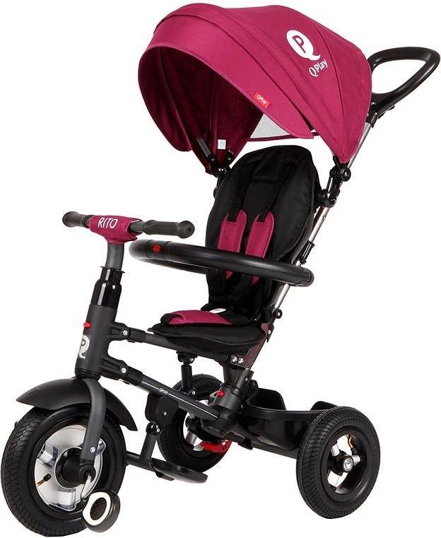 Sun Baby Tricycle - inflatable wheels Qplay Rito - burgundy (J01.014.1.2) bērnu ratiņi