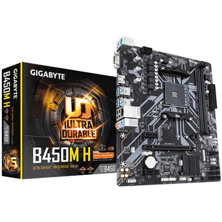 Gigabyte MB AMD AM4 GBT B450M H M-ATX, 2xD4 3200 4xSATA3 USB3.0 pamatplate, mātesplate
