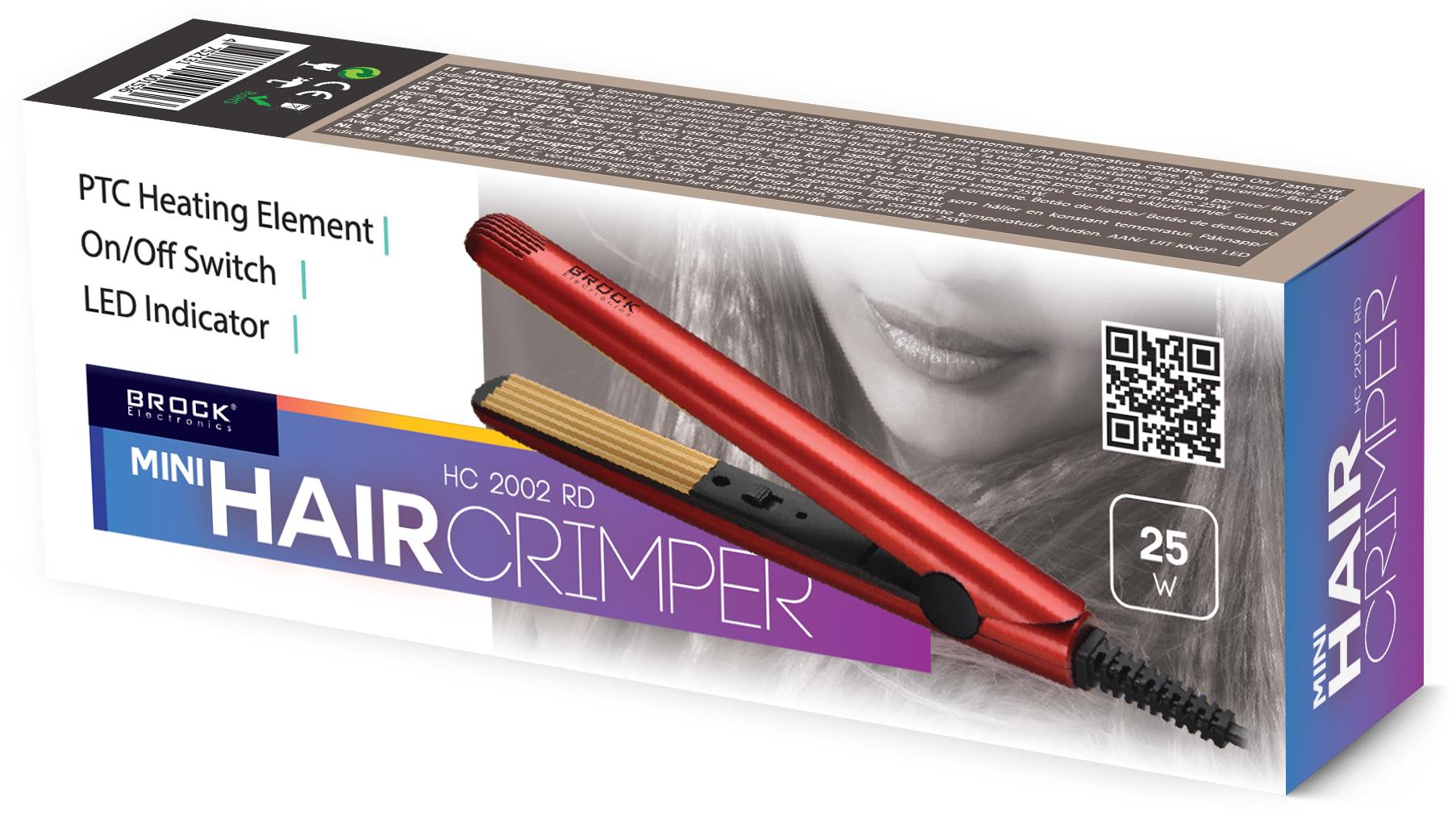 BROCK Mini matu gofrētājs, 25W HC 2002 RD Matu veidotājs