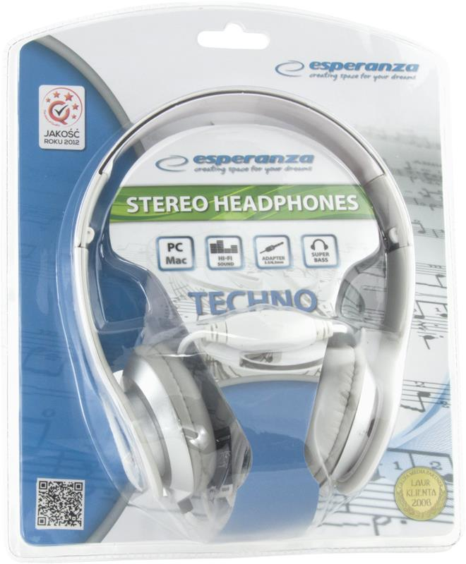 ESPERANZA Audio Stereo Headphones with volume control TECHNO EH145W | 3m austiņas