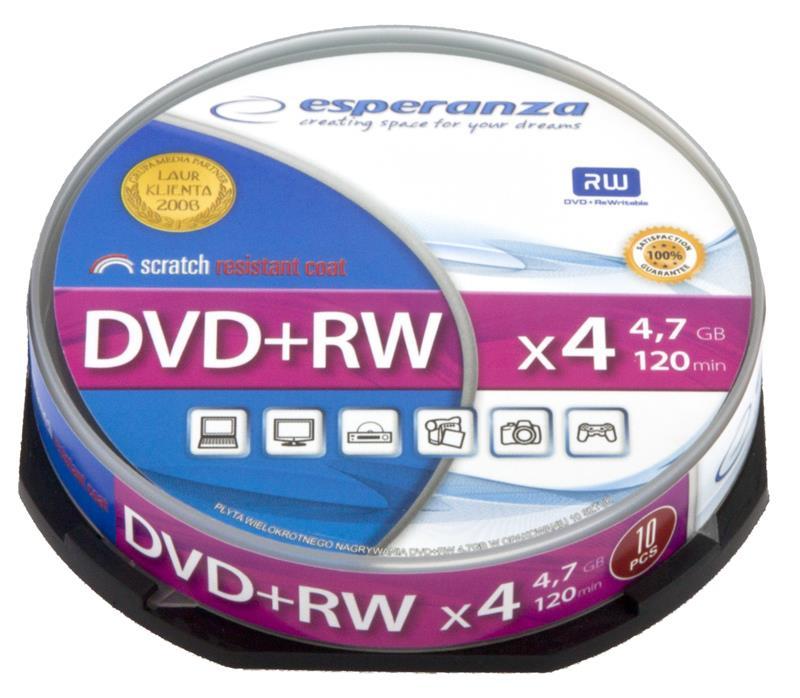 Esperanza DVD+RW 4,7GB x4 - Cake Box 10 matricas