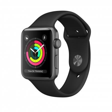 Apple Watch Series 3 GPS 38mm Grey Alu Black Sport Band Viedais pulkstenis, smartwatch