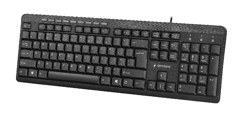 Gembird compact multimedia keyboard KB-UM-106, USB, US layout, black klaviatūra