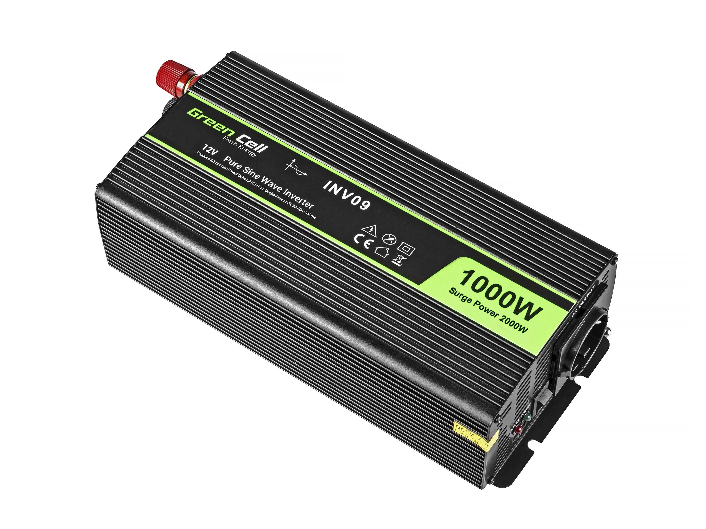 Green Cell Car Power Inverter 12V to 230V, 1000W/2000W Pure sine wave Strāvas pārveidotājs, Power Inverter