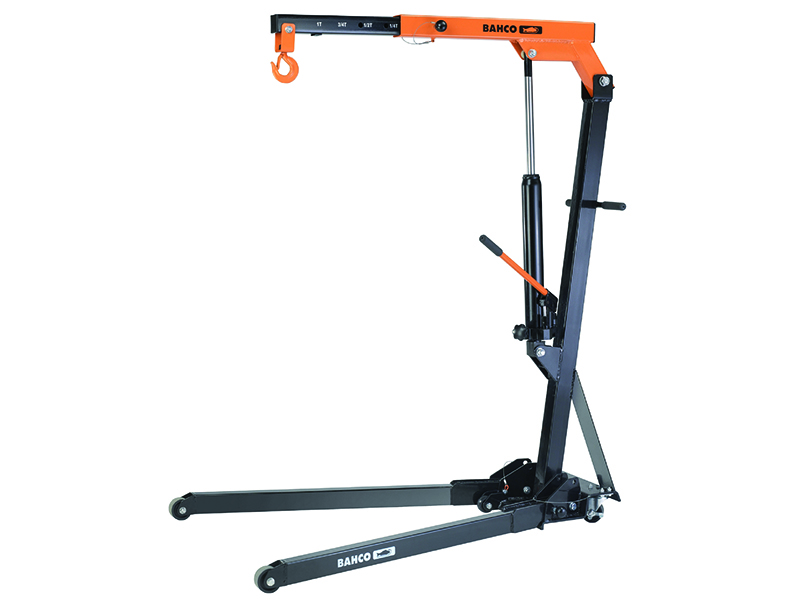 BAHCO Foldable crane max 1T, foldable body on wheels and 4 fixed positions of the lifting arm: 1000, 750, 500 and 250 kg
