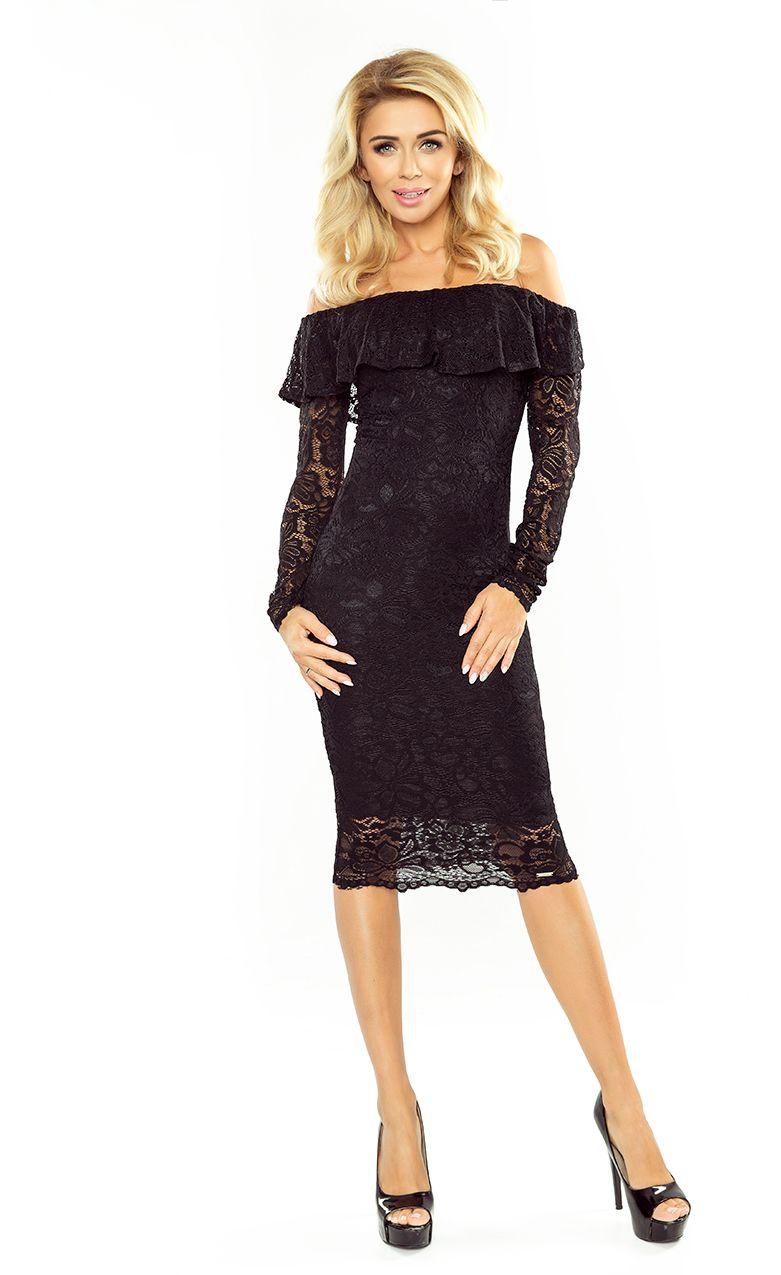 Morimia Sukienka koronkowa - hiszpanka z dlugim rekawkiem MM 021 czarna r. XL 947-6118 Kleitas sievietēm