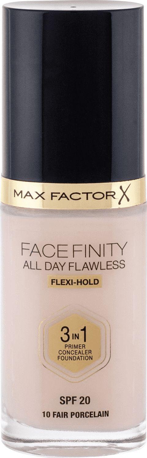 MAX FACTOR Facefinity All Day Flawless 3in1 Foundation SPF20 10 Fair Porcelain 30ml tonālais krēms