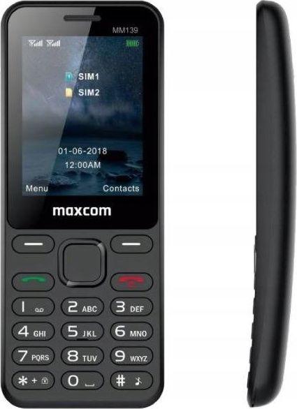 Telefon komorkowy Maxcom MM139 Dual SIM czarny (MAXCOMMM139BLACK) MAXCOMMM139BLACK Mobilais Telefons