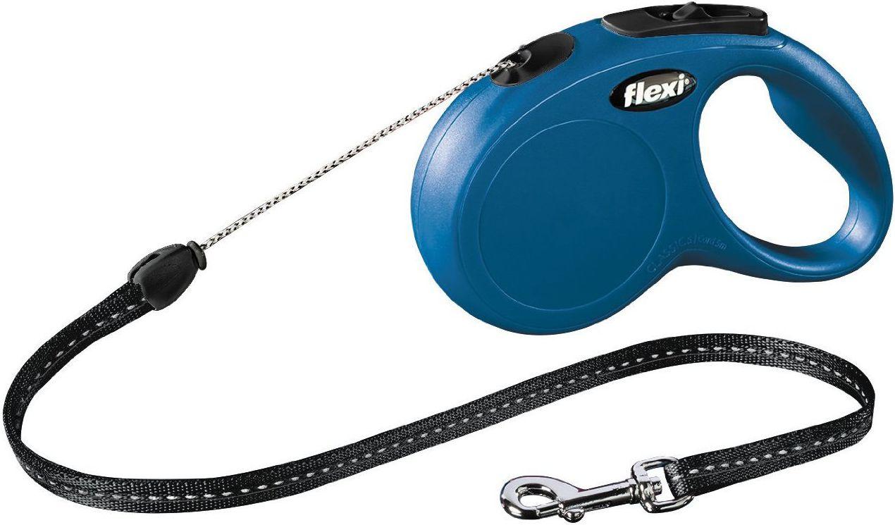 Flexi New Classic Smycz automatyczna Linka S 8m Niebieska FL-2719 aksesuārs suņiem