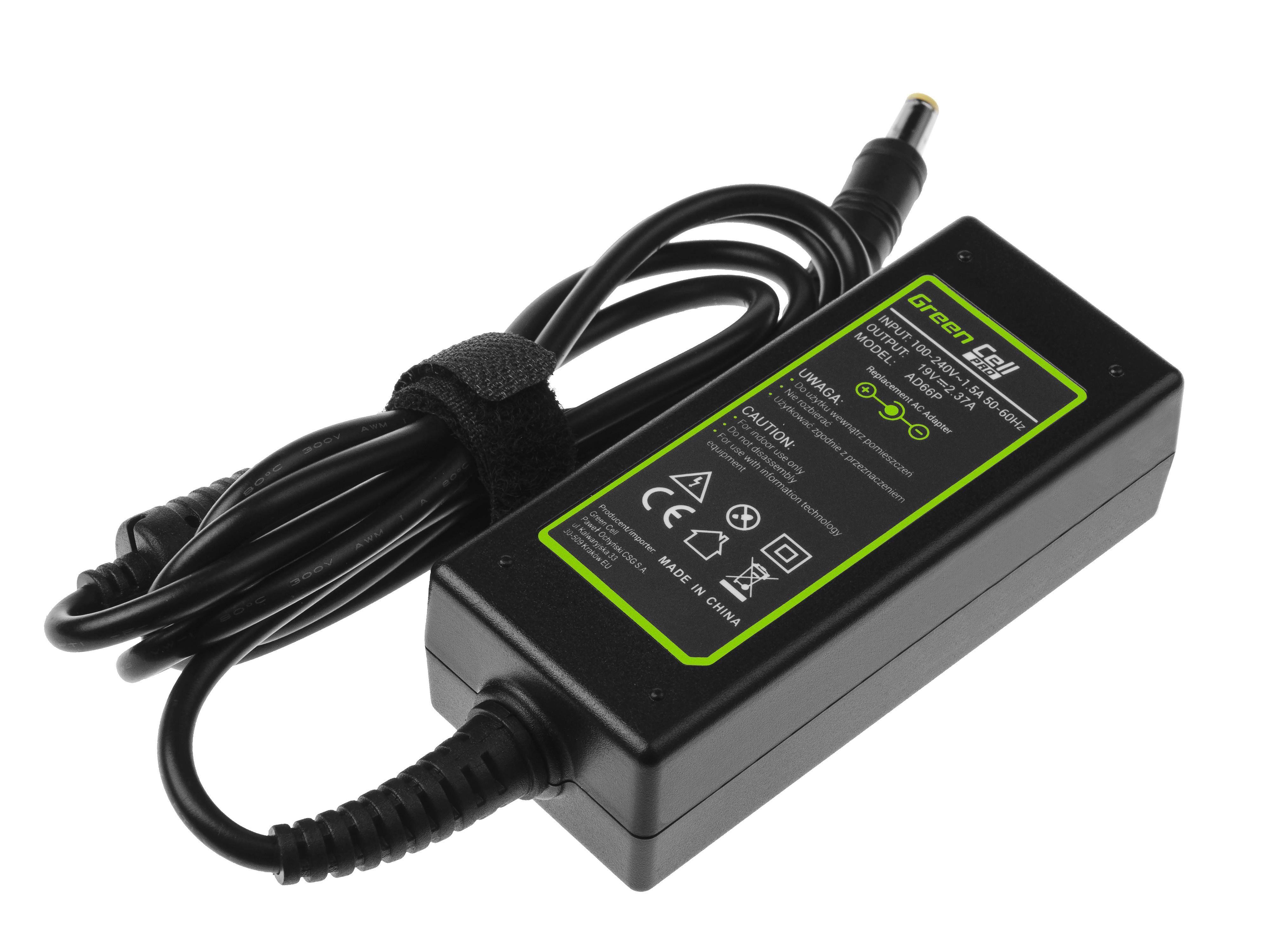 Green Cell PRO Charger for Acer Aspire E5-511 E5-521 E5-573 E5-573G ES1-131 ES V5-171 19V 2.37A 45W portatīvo datoru lādētājs