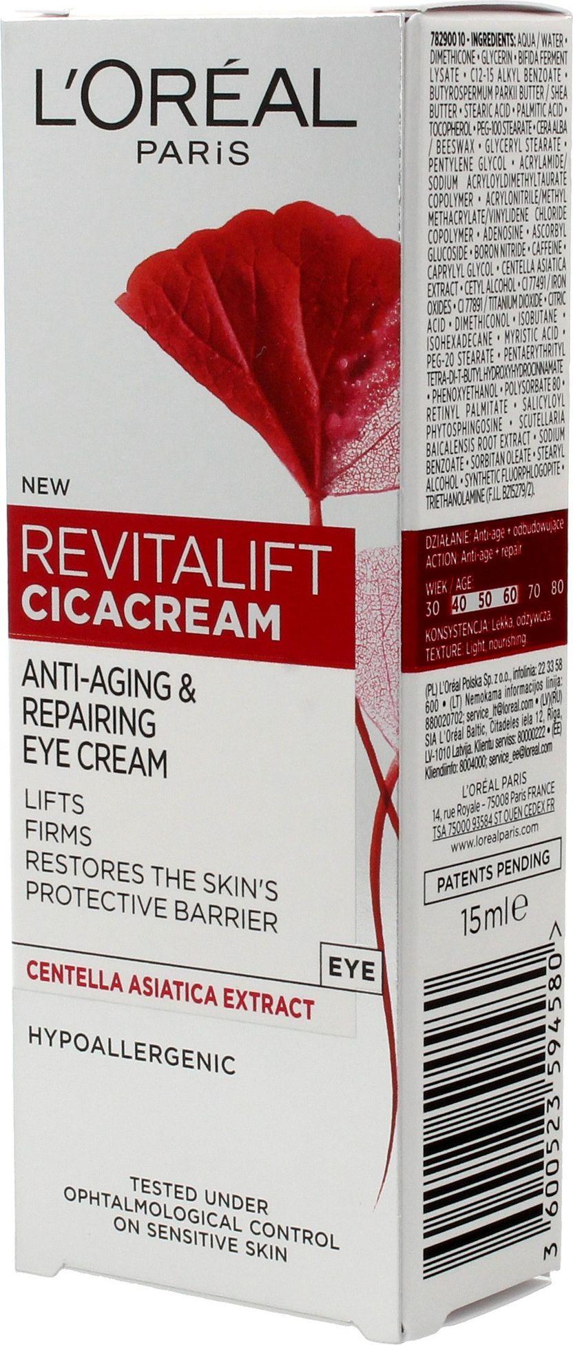 L'Oreal Paris Revitalift Cicacream Anti-Aging & Repairing Eye Cream anti-wrinkle 15ml ēnas