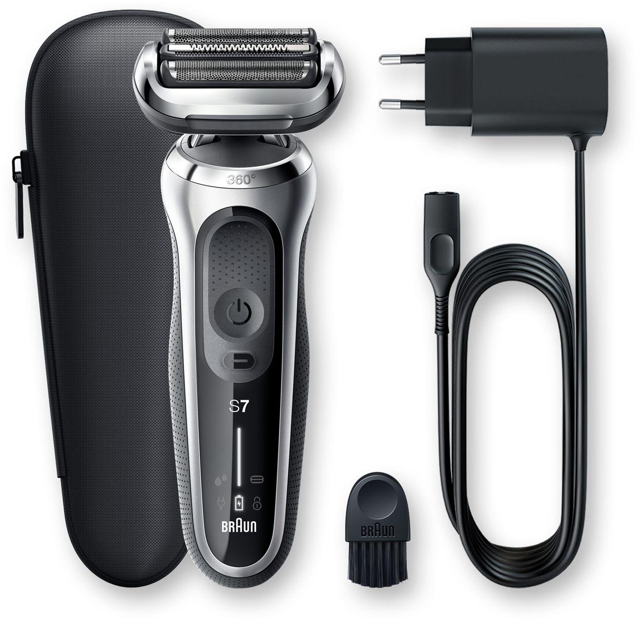 Braun Shaver 70-S1000s Cordless, Charging time 1 h, Lithium Ion, Number of shaver heads/blades 3, Black/Silver, Wet & Dry 4210201242345 Vīriešu skuveklis