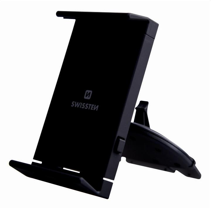 Swissten S-Grip T1-CD1 Universāls Auto Stiprinājums CD Magnetolai Planšetēm / Telefoniem / GPS Melns Mobilo telefonu turētāji