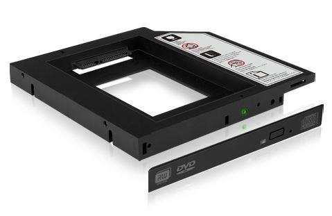 Icy Box Adapter for 2.5'' HDD/SSD Notebook extension (9.5 mm dvd slot), Black dock stacijas HDD adapteri