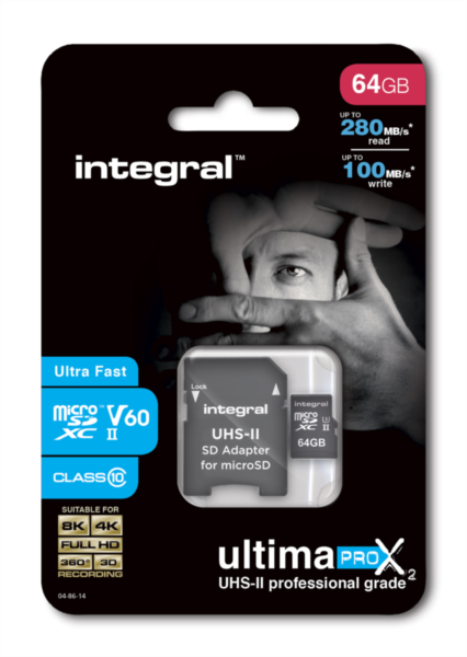 Integral microSDXC 280-100MB UHS-II V60 + SD Adapter, 64GB