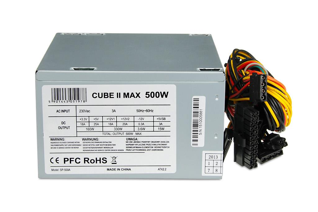 POWER SUPPLY I-BOX CUBE II ATX 500W 12 CM FAN Barošanas bloks, PSU