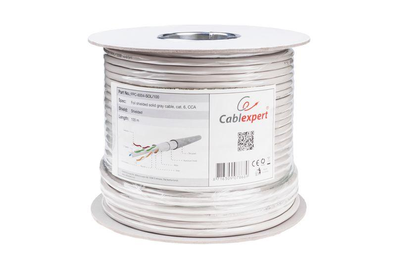 Gembird FTP foil shielded solid cable, cat. 6, CCA, 100m, gray kabelis, vads