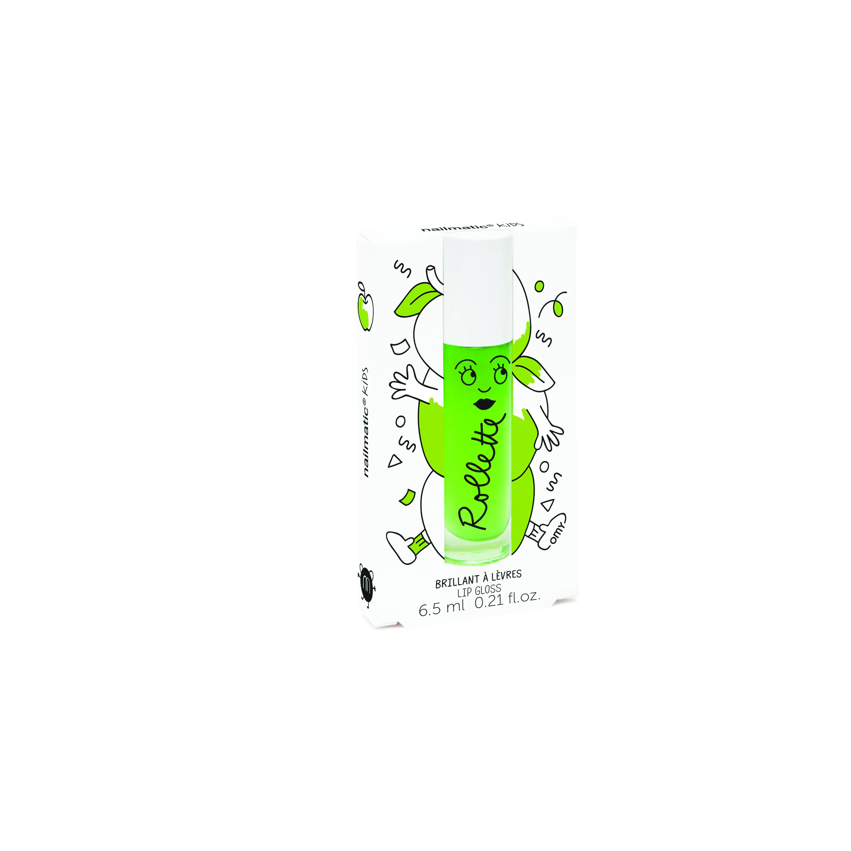 Akcija! Nailmatic Kids Dabīgs un mitrinošs bērnu lūpu spīdums ar vitamīniem un augļu garšu, Apple, 6,5 ml ROLLPOMME 6360 Lūpu krāsas, zīmulis