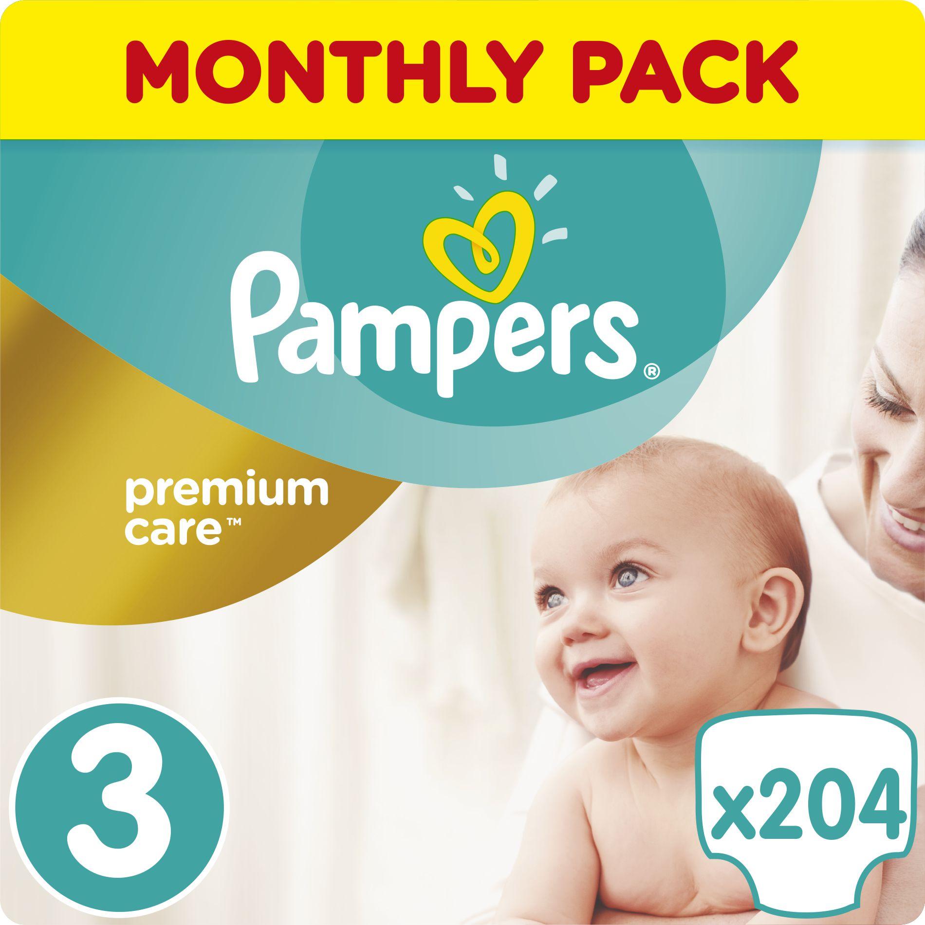 Pampers Pieluchy Premium Care Rozmiar 3 (Midi), 5-9kg, 204 szt. 977205