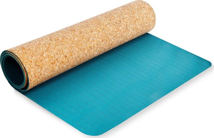 Spokey SAVASANA Yoga mat, Two-layer, Non-slip surface, 180 x 60 x 0.4 cm, Blue, Cork/TPE 5902693265221