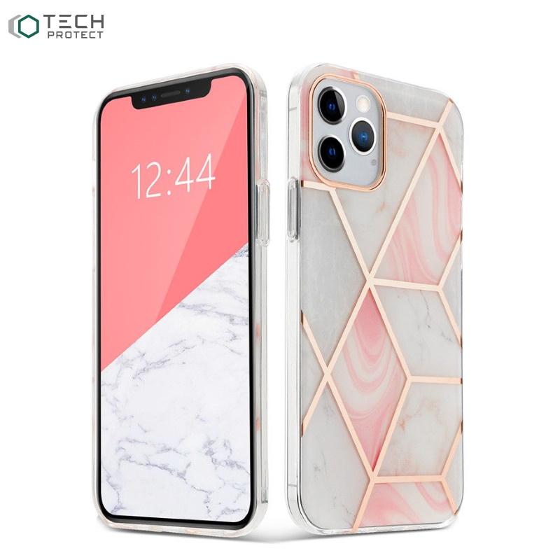 Tech-Protect īpaši plāns TPU aizmugures maks-apvalks priekš Apple iPhone 12 / 12 Pro Rozā Marble
