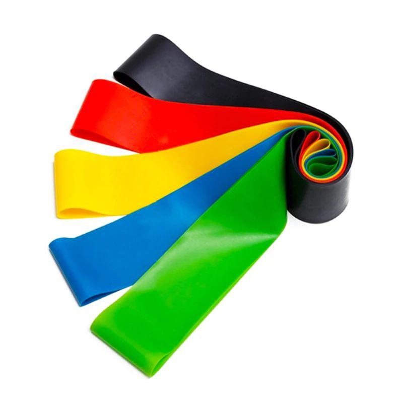 TakeMe Dažādas pretestības vingrošanas lateksa lentes (5gab.) ar uzglabāšanas somiņu Rainbow Sporta aksesuāri