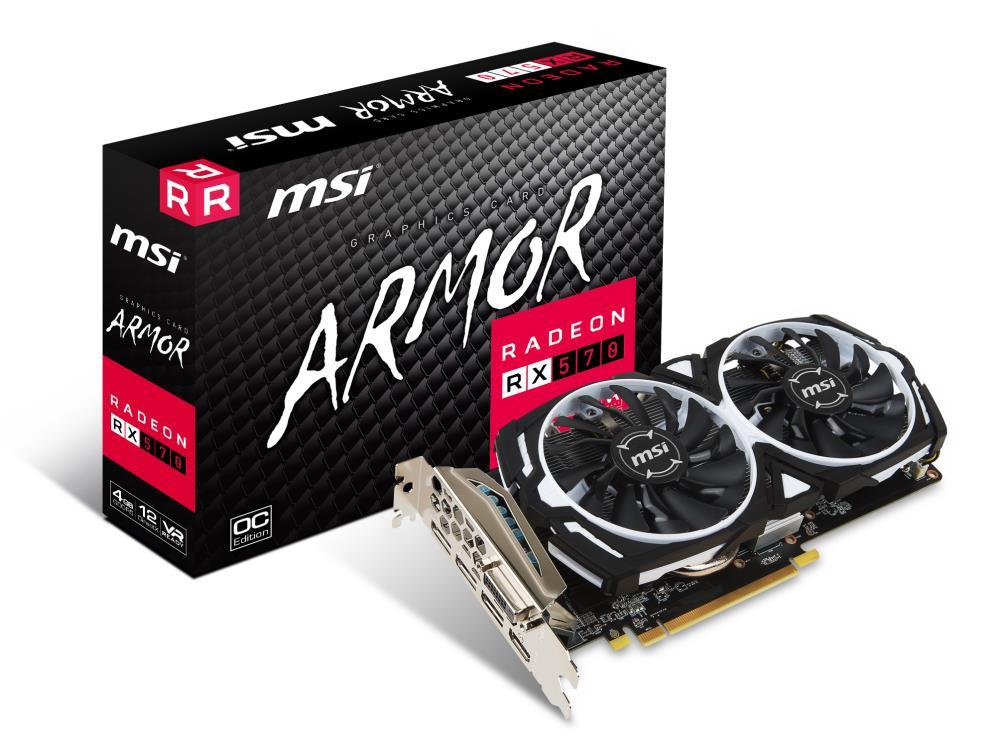 MSI Radeon RX 570 Armor 4G OC, 4096 MB GDDR5 video karte