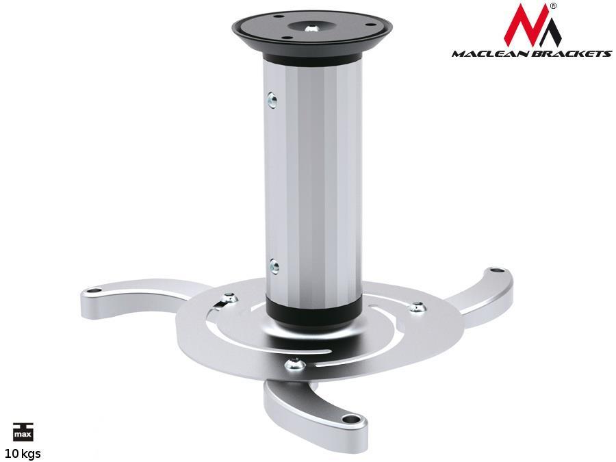Maclean MC-515 Quality Ceiling Projector Mount Bracket Universal Silver Max 10KG Stiprinājumi projektoriem