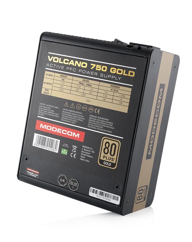 MODECOM  VOLCANO 750 GOLD 120mm FAN Barošanas bloks, PSU