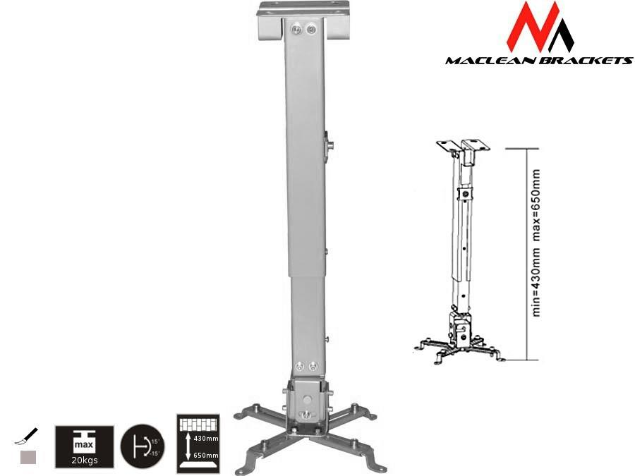 Maclean Mount ceiling for the projector MC-581 (430 mm - 656 mm; 20 kg; silver color) Stiprinājumi projektoriem