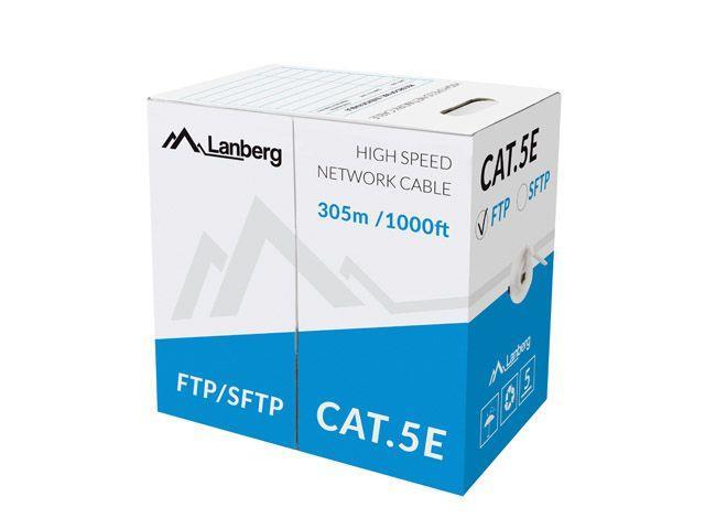 Lanberg FTP solid cable, CCA, cat.5e, 305m, gray tīkla kabelis