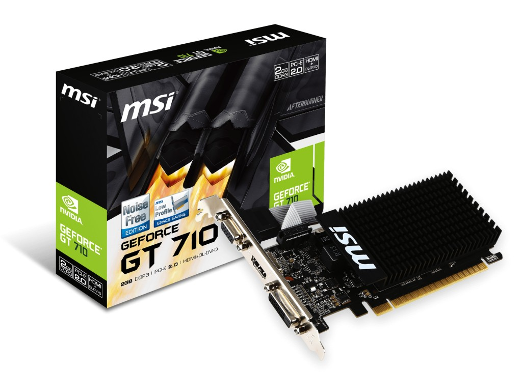 MSI GeForce GT 710 2GB DDR3 (64 bit) DVI, HDMI, D-Sub (V809-2000R) video karte