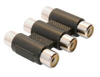 Adapter AV InLine 3x Cinch (F/F) Black (99319A) adapteris