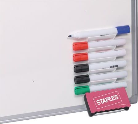 Staples Whiteboard Marker Set with Sponge and Holder, 6 Colors (C74364)