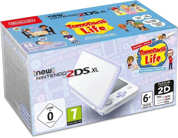 New Nintendo 2DS XL white Lavender incl. Tomodachi Life spēļu konsole