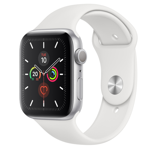 Apple Watch Series 5 GPS 44mm Alu Case Silver White Sport Band Viedais pulkstenis, smartwatch