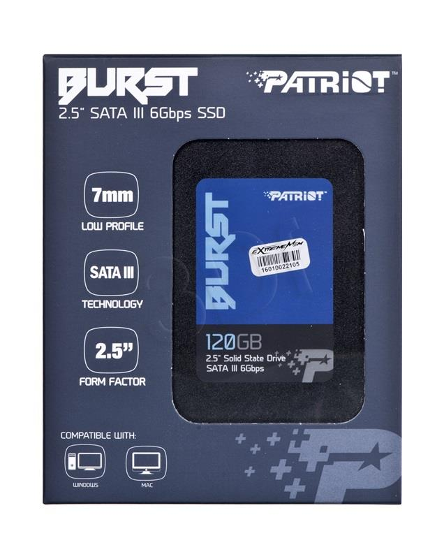 Patriot SSD Burst 120GB 2.5'' SATA III read/write 560/540 MBps, 3D NAND Flash SSD disks