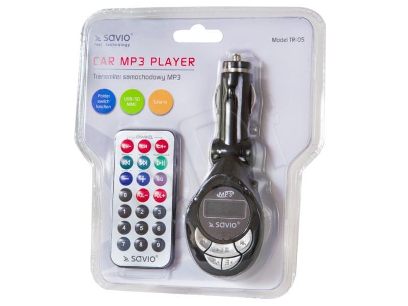 Savio Transmiter FM TR-05 (AUX,USB SD black) FM transmiteris