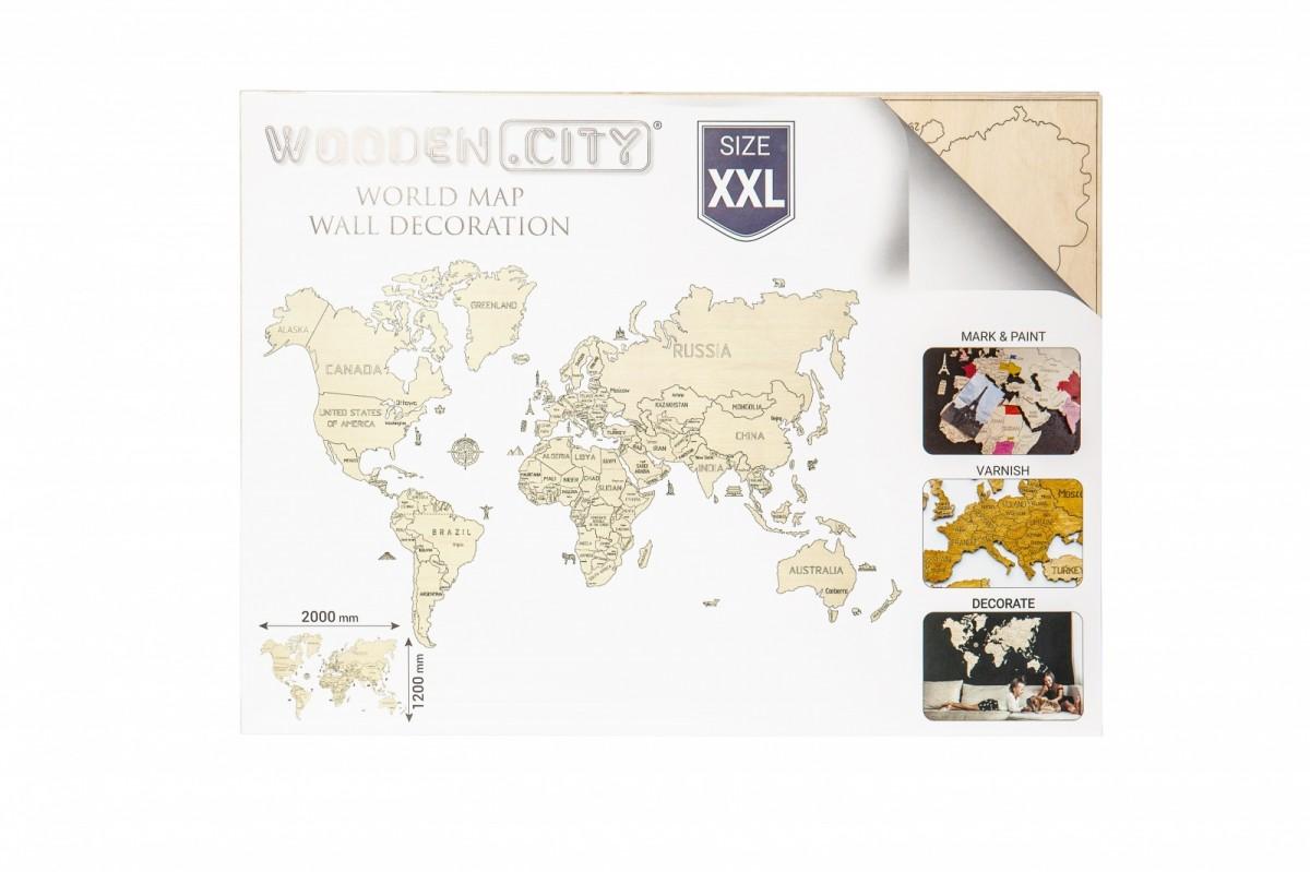 Puzzle World map size XXL color cyan puzle, puzzle