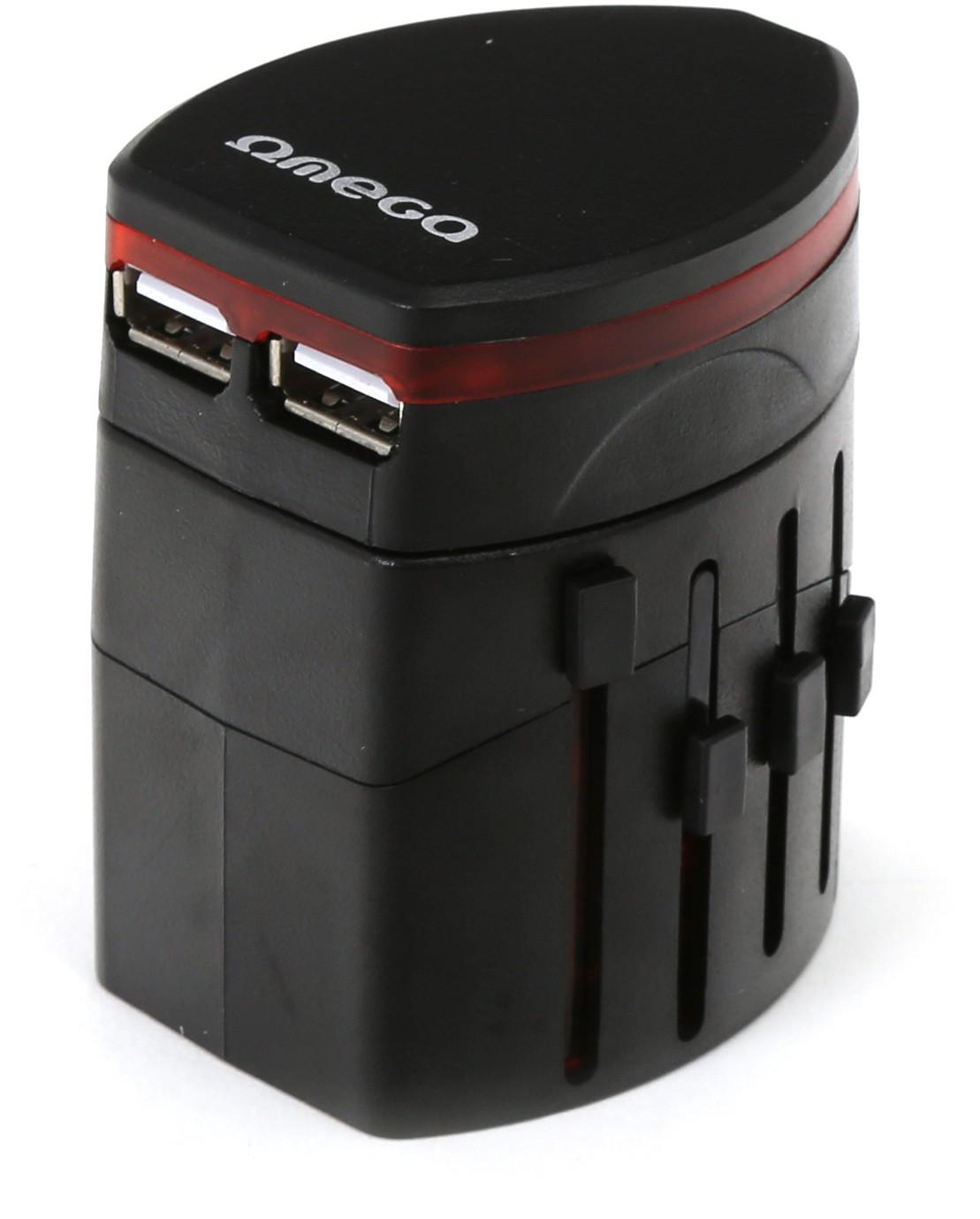 Omega ceļojumu strāvas adapteris 4 vienā USB, melns (43354) 5907595433549 adapteris