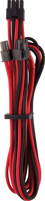 Corsair Premium Sleeved PCIe Cable Type 4 Gen 4 - red/black aksesuārs datorkorpusiem