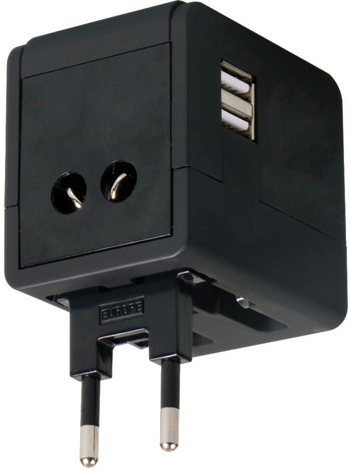 Omega ceļojumu adapteris 4 vienā USB, melns (43645) adapteris