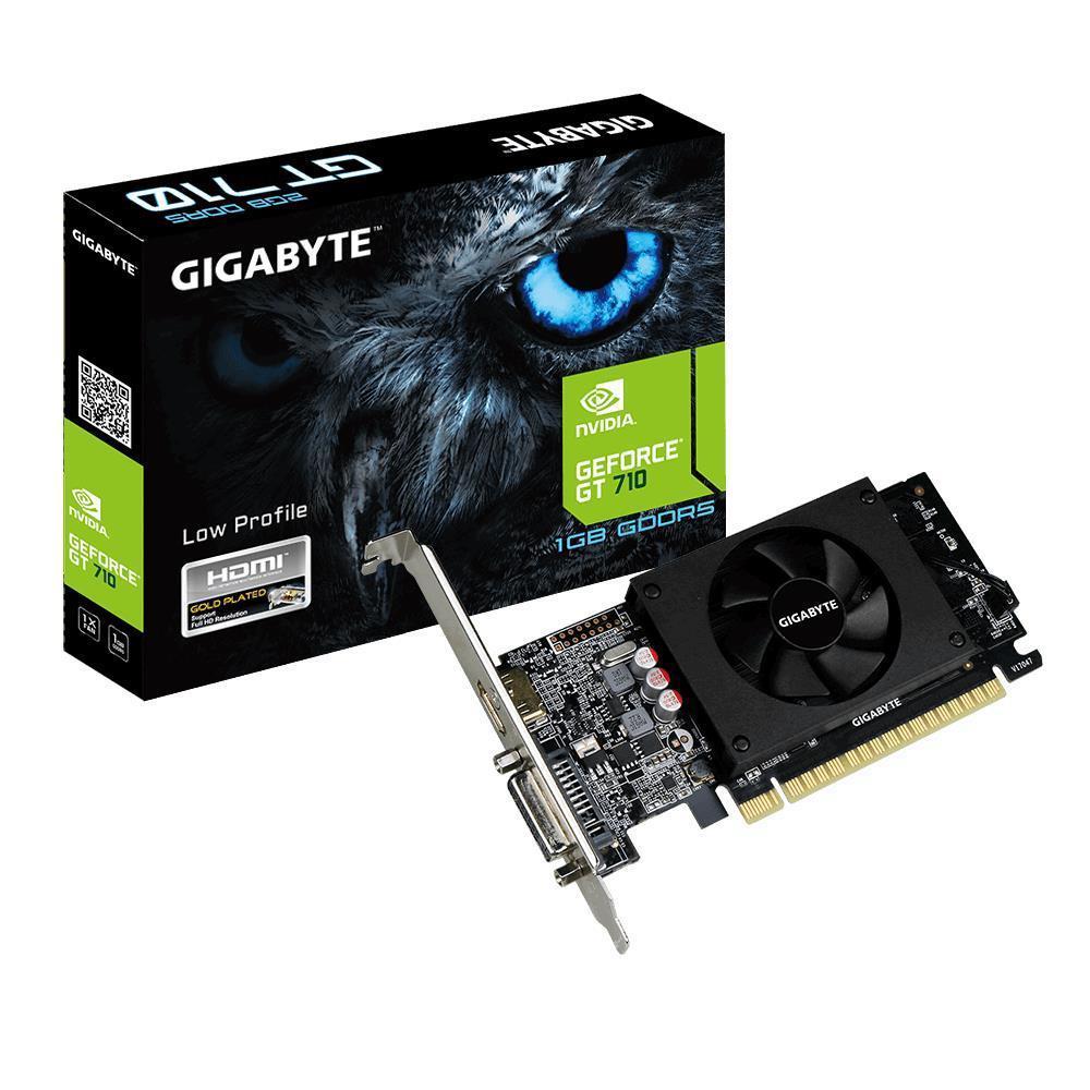 Gigabyte GV-N710D5-1GL 2.0 NVIDIA, 1 GB, GeForce GT 710, GDDR5, PCI-E 2.0 x 8, HDMI ports quantity 1, Memory clock speed 4200 MHz, DVI-D por video karte