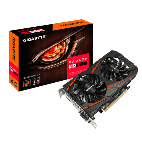 Gigabyte AMD, 4 GB, Radeon RX 560, GDDR5, PCI Express 3.0, Processor frequency 1234 MHz video karte