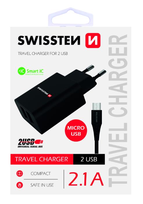 Swissten Premium Tīkla Lādētājs USB 2.1A / 10.5W Ar Micro USB vadu 120 cm Melns iekārtas lādētājs