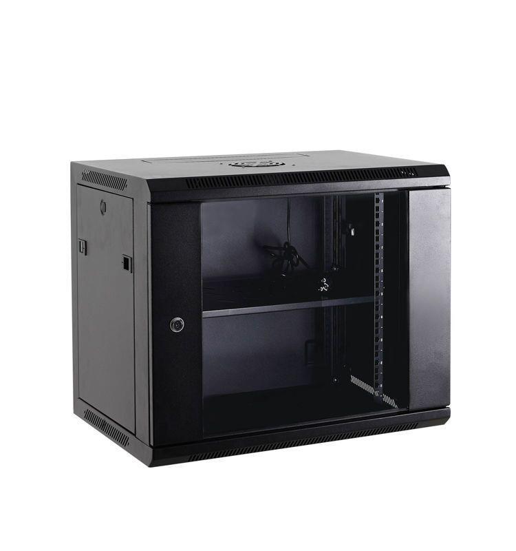 Netrack wall/hanging cabinet 19'',15U/600 mm,glass door,black,remov. side pan. Serveru aksesuāri