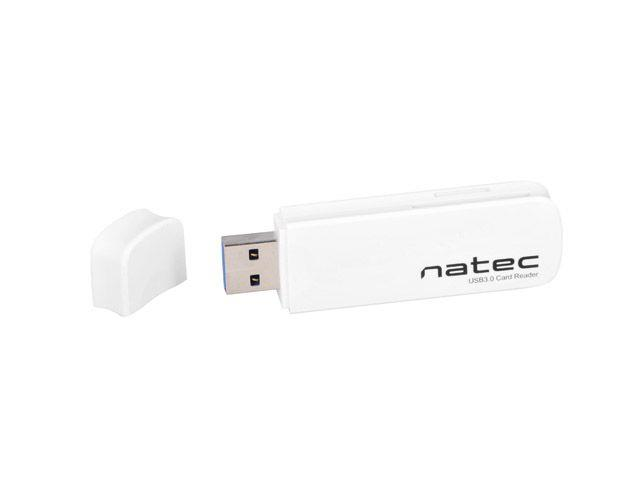 Natec Mini Card Reader SCARAB SD/Micro SD, USB 3.0 White karšu lasītājs