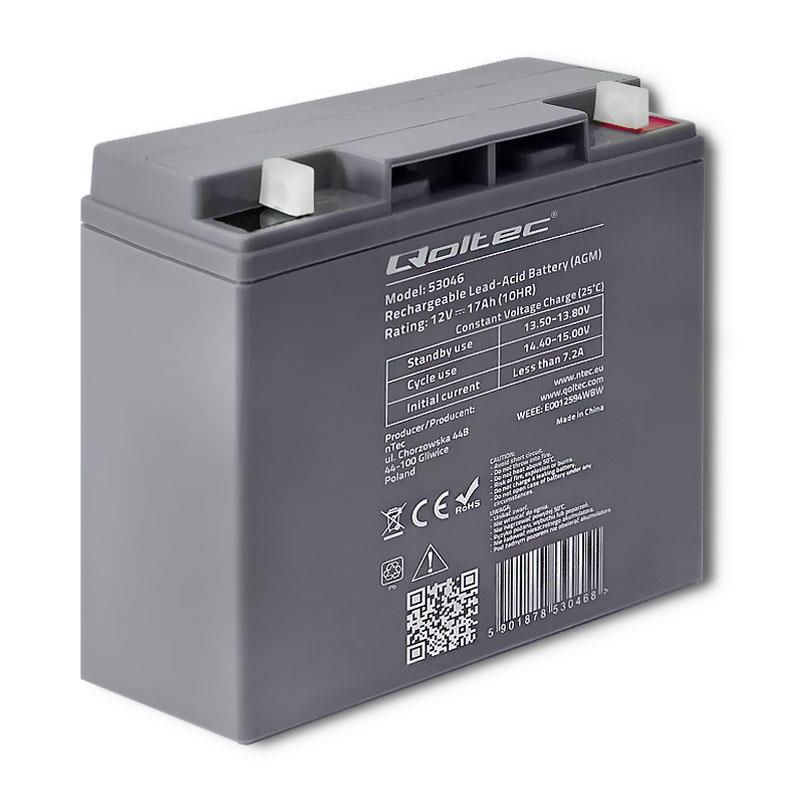 Qoltec 53046 AGM battery | 12V | 17Ah | max. 255A UPS aksesuāri