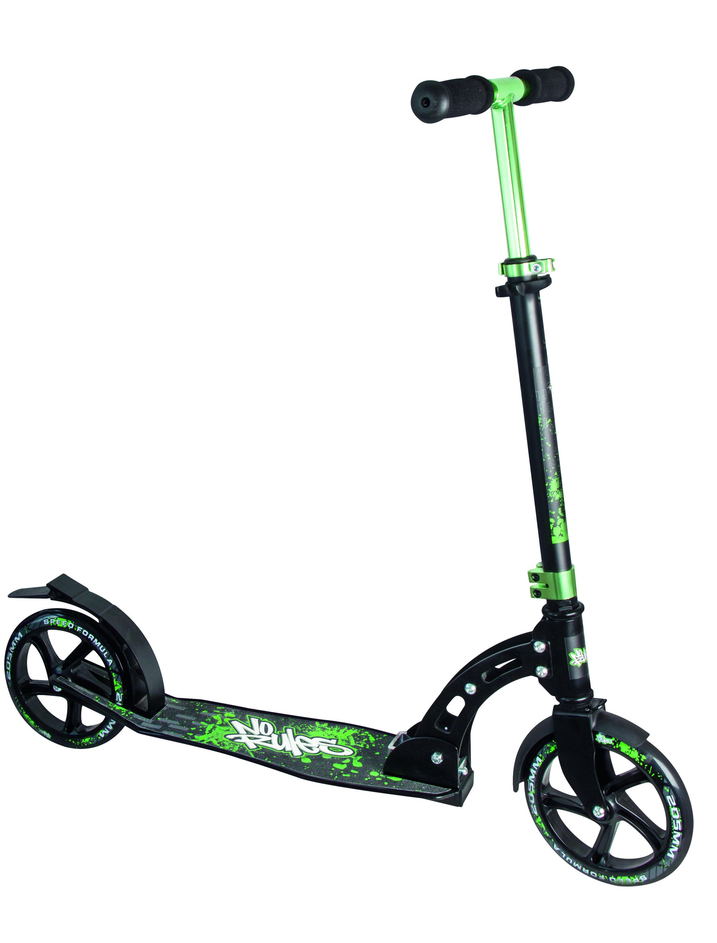 No Rules Aluminium Scooter skrejritenis 205 mm, melns/zaļš AU 137 Skrejriteņi